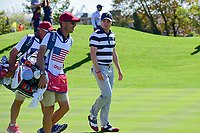 Justin Thomas (USA) makes his way down 7 during round 1 foursomes of the 2017 President's Cup, Liberty National Golf Club, Jersey City, New Jersey, USA. 9/28/2017.<br /> Picture: Golffile   Ken Murray<br /> ll photo usage must carry mandatory copyright credit (&copy; Golffile   Ken Murray)