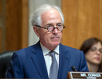 """United States Senator Bob Corker (Republican of Tennessee), Chairman, US Senate Committee on Foreign Relations, listens as US Secretary of State Mike Pompeo appears before the  to """"Review  the FY 2019 State Department budget request"""" on Capitol Hill in Washington, DC on Thursday, May 24, 2018.  Prior to delivering his prepared remarks, Secretary Pompeo read a letter from US President Donald J. Trump to North Korean leader Kim Jong-un cancelling their planned summit in Singapore on June 12, 2018<br /> Credit: Ron Sachs / CNP /MediaPunch"""
