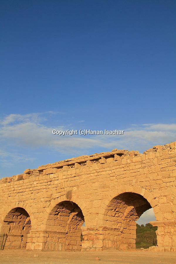 Israel, Sharon region, the Roman Upper Aqueduct In Caesarea