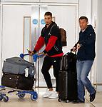 Pedro Caixinha at Glasgow Airport this morning with Fabio Cardoso