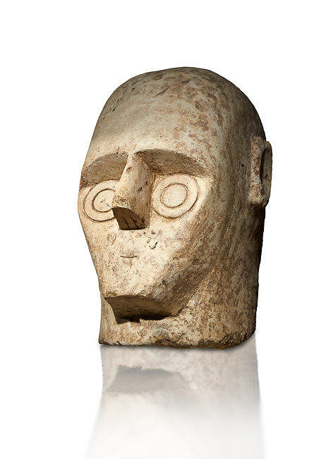 9th century BC Giants of Mont'e Prama Nuragic stone head from the statue of a boxer, Mont'e Prama archaeological site, Cabras. Museo archeologico nazionale, Cagliari, Italy. (National Archaeological Museum) - White Background