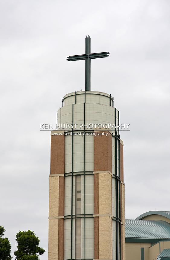 Modern style steeple on a Christian church.