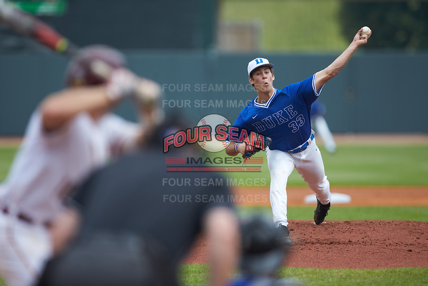 Duke Blue Devils starting pitcher Adam Laskey (33) in action against the Florida State Seminoles in the first semifinal of the 2017 ACC Baseball Championship at Louisville Slugger Field on May 27, 2017 in Louisville, Kentucky. The Seminoles defeated the Blue Devils 5-1. (Brian Westerholt/Four Seam Images)