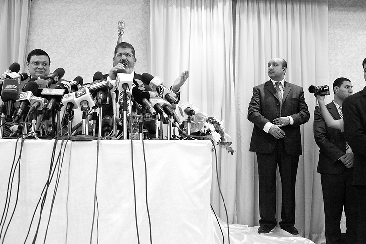 Egypt/ Cairo / 29.5.2012 / Mohamed Morsi gives a press conference in a hotel close to the airport in Cairo. May 29th, 2012. Cairo, Egypt.<br /> <br /> &copy; Giulia Marchi