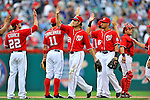 24 September 2011: Washington Nationals outfielder Jayson Werth celebrates with teammates after game action against the Atlanta Braves at Nationals Park in Washington, DC. The Nationals defeated the Braves 4-1 to even up their 3-game series. Mandatory Credit: Ed Wolfstein Photo
