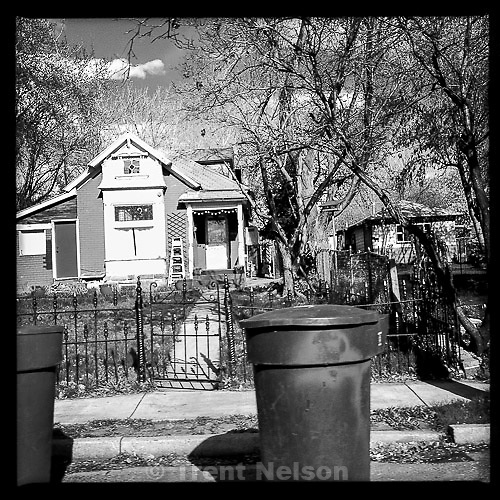 houses, shot from car
