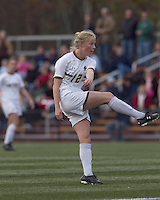 Boston College midfielder Julia Bouchelle (12) follows through on a shot. Boston College defeated Hofstra University, 3-1, in second round NCAA tournament match at Newton Soccer Field, Newton, MA.