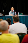 Team PokerStars Pro Barry Greenstein fields questions from players and fans during a 2012 PCA Q&A session.