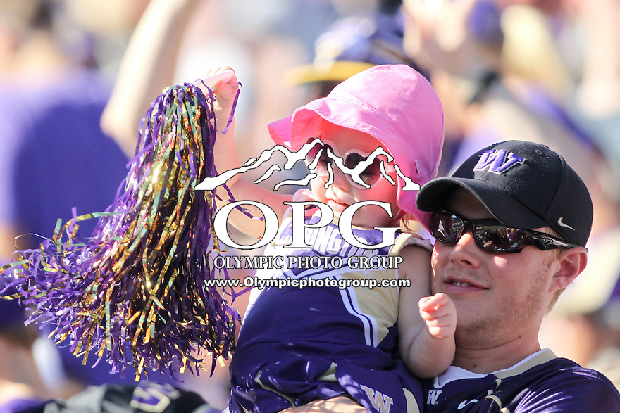Sept 20, 2014:  Washington fans cheered from the stands during the game against Georgia State.  Washington defeated Georgia State 45-14 at Husky Stadium in Seattle, WA.