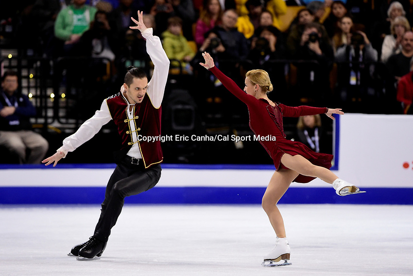 Saturday, April 2, 2016: Tatiana Volosozhar and Maxim Trankov (RUS) skate in the Pairs Free Skate Program at the International Skating Union World Championship held at TD Garden, in Boston, Massachusetts. Eric Canha/CSM