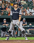 New York Yankees left fielder Giancarlo Stanton (27) lingers in the batter's box after being called out on strikes in the ninth inning against the Baltimore Orioles at Oriole Park at Camden Yards in Baltimore, MD on Sunday, August 26, 2018.  The Yankees won the game 5 - 3.<br /> Credit: Ron Sachs / CNP<br /> <br /> (RESTRICTION: NO New York or New Jersey Newspapers or newspapers within a 75 mile radius of New York City)