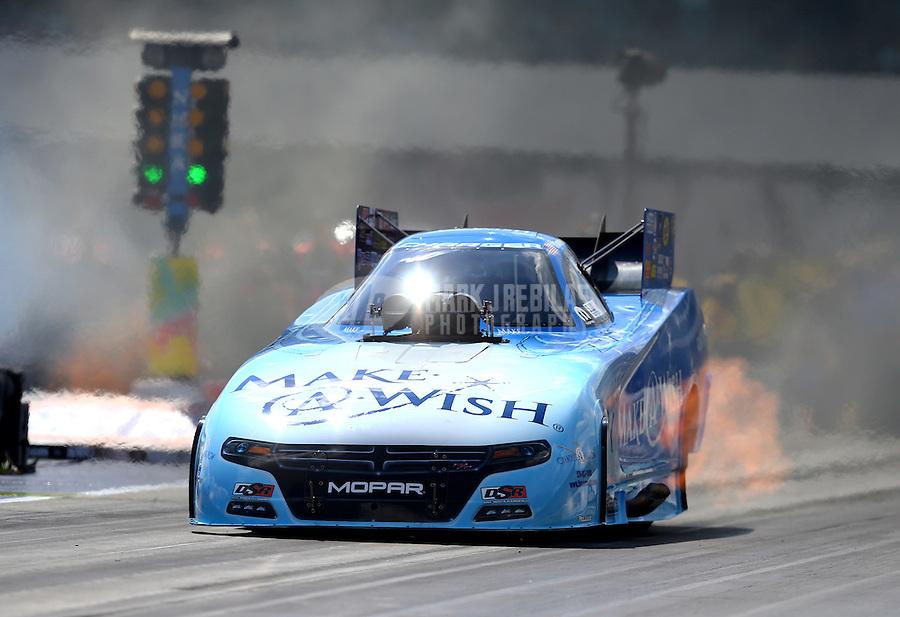 Sep 20, 2015; Concord, NC, USA; NHRA funny car driver Tommy Johnson Jr during the Carolina Nationals at zMax Dragway. Mandatory Credit: Mark J. Rebilas-USA TODAY Sports