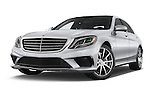 Stock pictures of low aggressive front three quarter view of a 2014 Mercedes Benz S-Class S63 AMG 4 Door Sedan Low Aggressive