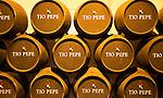 Oak barrels of maturing Tio Pepe fino sherry wine cellar, Gonzalez Byass bodega, Jerez de la Frontera, Cadiz province, Spain