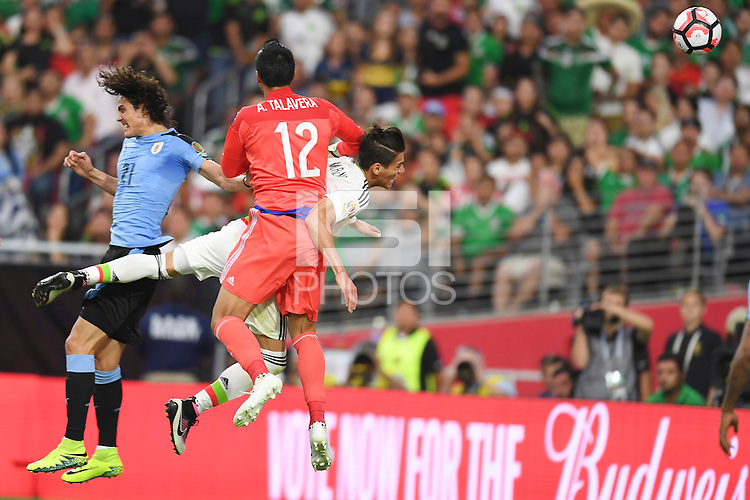 Action photo during the match Mexico vs Uruguay, Corresponding Group -C- America Cup Centenary 2016, at University of Phoenix Stadium<br /> <br /> Foto de accion durante el partido Mexico vs Uruguay, Correspondiante al Grupo -C-  de la Copa America Centenario USA 2016 en el Estadio de la Universidad de Phoenix, en la foto: (i-d) Edinson Cavani de Uruguay, Alfredo Talavera y Hector Moreno de Mexico<br /> <br /> <br /> 05/06/2016/MEXSPORT/Omar Martinez.