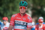 Race leader Red Jersey Pascal Ackermann (GER) Bora-Hansgrohe lines up for the start of Stage 2 of the Deutschland Tour 2019, running 202km from Marburg to Gottinger, Germany. 30th August 2019.<br /> Picture: Mario Stiehl | Cyclefile<br /> All photos usage must carry mandatory copyright credit (© Cyclefile | Mario Stiehl)