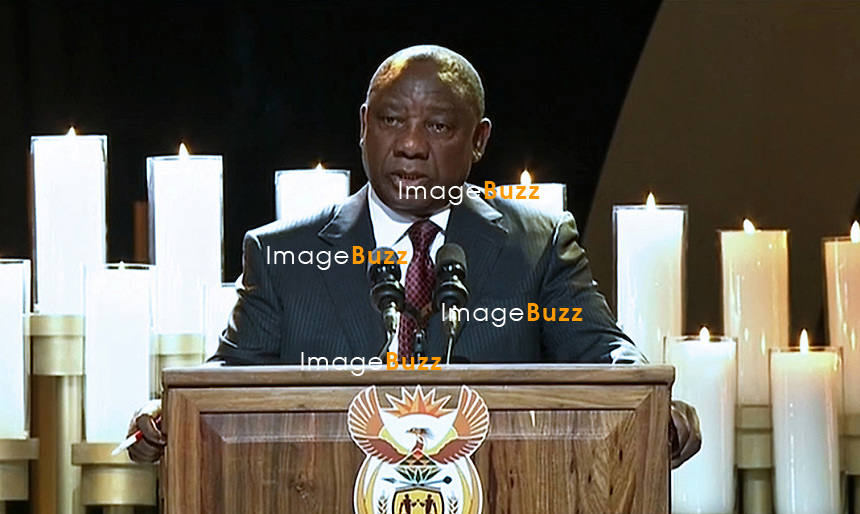 Qunu, South Africa: 15.12.2013: STATE FUNERAL FOR NELSON MANDELA<br /> CYRIL RAMAPHOSA<br /> makes an address at the Funeral Service for former President Nelson Mandela in Qunu, Eastern Cape, South Africa