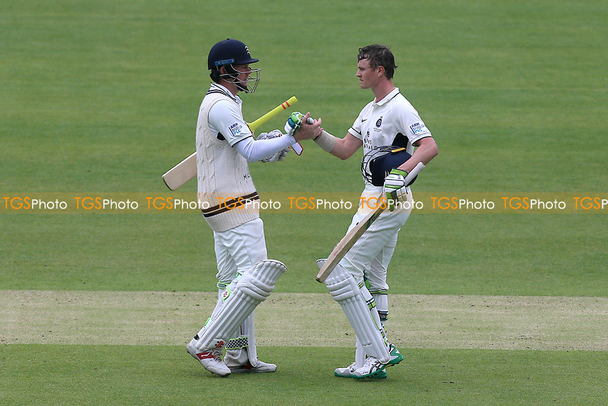 Sam Robson (L) congratulates Nick Gubbins of Middlesex on his century during Middlesex CCC vs Essex CCC, Specsavers County Championship Division 1 Cricket at Lord's Cricket Ground on 21st April 2017
