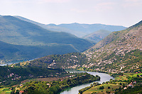 A panoramic view across the tremendously impressive Orin or Bijela Gora mountain tops close to the border to Montenegro on the road between Trebinje and Niksic. View of the river Trebisnjica in a steep valley.. Trebinje. Republika Srpska. Bosnia Herzegovina, Europe.