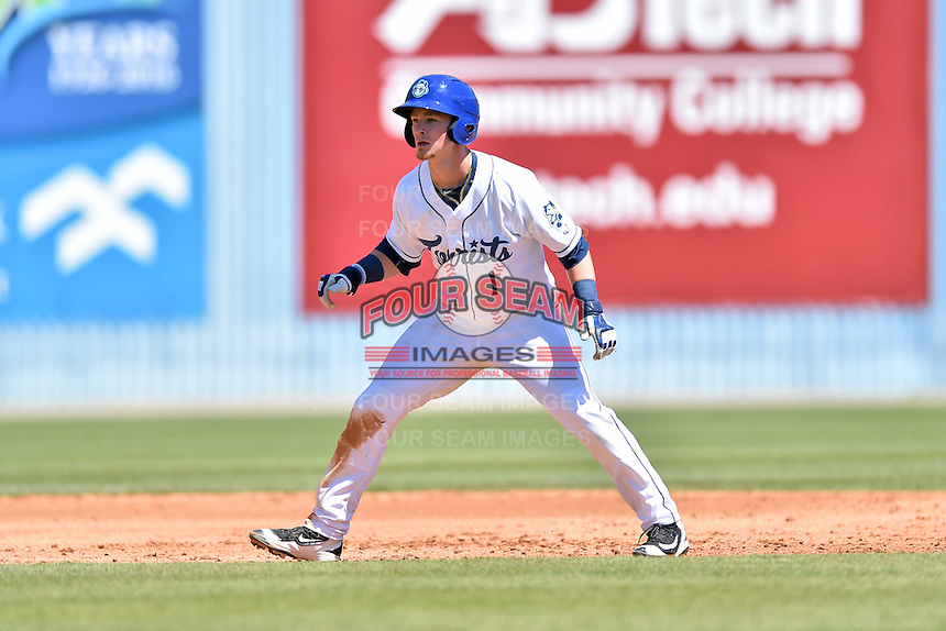 Asheville Tourists designated hitter Brendan Rodgers (1) leads off second during a game against the Rome Braves at McCormick Field on April 17, 2016 in Asheville, North Carolina. The Tourists defeated the Braves 12-5. (Tony Farlow/Four Seam Images)