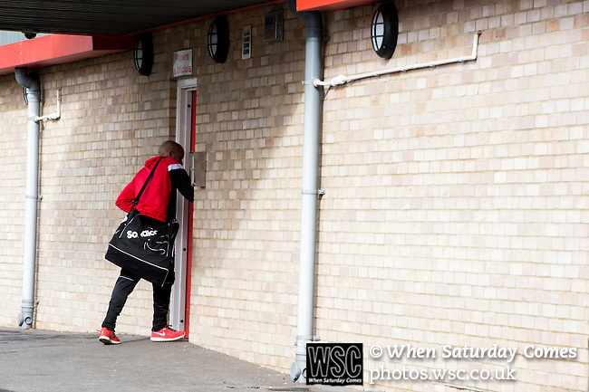 Dagenham and Redbridge 1 Burton Albion 3, 21/02/2015. Victoria Road, League Two. A Dagenham players arrives at the stadium. Burton Albion moved to the top of League Two following a hard-fought win over Dagenham & Redbridge played in-front of 1,718 supporters. Photo by Simon Gill.