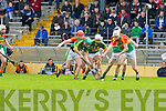 Ally O'Connor (left) and Darragh O'Connell Kerry and Jack Kavanagh Carlow in action during their Allianz Hurling league clash in Fitzgerald Stadium on Sunday