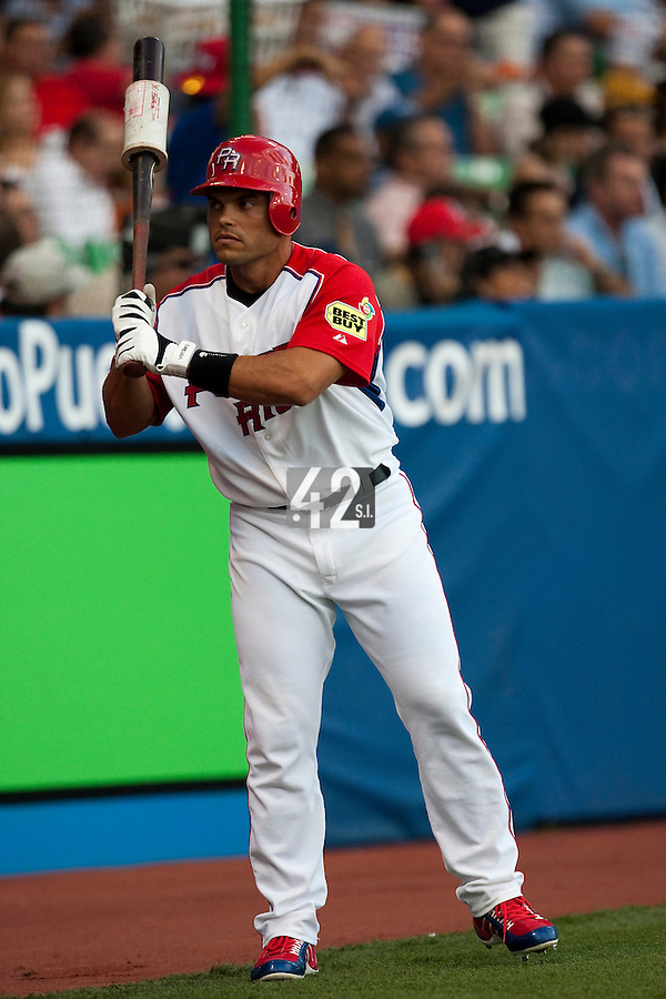 11 March 2009: #7 Ivan Rodriguez of Puerto Rico waits in the batter box during the 2009 World Baseball Classic Pool D game 6 at Hiram Bithorn Stadium in San Juan, Puerto Rico. Puerto Rico wins 5-0 over the Netherlands