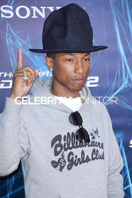NEW YORK CITY, NY, USA - APRIL 24: Pharrell Williams arrives at the New York Premiere Of Sony Pictures' 'The Amazing Spider-Man 2' held at Ziegfeld Theater on April 24, 2014 in New York City, New York, United States. (Photo by Jeffery Duran/Celebrity Monitor)