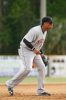 Frederick Keys third baseman Jomar Reyes (30) during a game against the Myrtle Beach Pelicans at Ticketreturn.com Field at Pelicans Ballpark on April 10, 2016 in Myrtle Beach, South Carolina. Myrtle Beach defeated Frederick 7-5. (Robert Gurganus/Four Seam Images)