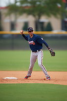 Atlanta Braves Juan Morales (19) during practice before a Minor League Spring Training game against the New York Yankees on March 12, 2019 at New York Yankees Minor League Complex in Tampa, Florida.  (Mike Janes/Four Seam Images)