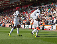 Fulham's Ryan Sessegnon celebrates with Aleksandar Mitrovic (right) after Aleksandar Mitrovic scores his side's first goal  <br /> <br /> Photographer David Horton/CameraSport<br /> <br /> The Premier League - Bournemouth v Fulham - Saturday 20th April 2019 - Vitality Stadium - Bournemouth<br /> <br /> World Copyright © 2019 CameraSport. All rights reserved. 43 Linden Ave. Countesthorpe. Leicester. England. LE8 5PG - Tel: +44 (0) 116 277 4147 - admin@camerasport.com - www.camerasport.com