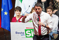 Il presidente del consiglio Matteo Renzi parla durante una manifestazione per il Si' al referendum costituzionale del prossimo 4 dicembre, a Roma, 26 novembre 2016.<br />
