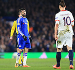 Chelsea's Diego Costa watches PSG's Zlatan Ibrahimovic<br /> <br /> - UEFA Champions League - Chelsea vs Paris Saint Germain - Stamford Bridge - London - England - 9th March 2016 - Pic David Klein/Sportimage