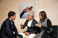 Switzerland. Geneva. World Health Organisation (WHO). Stop TB Partnership. Evening party for a group of national ambassadors against tuberculosis. Deepak Raj Giri (C), Nepal, TV movie actor. Deespasri Niraula (R), Nepal, TV movie actress. 5.12.2011 © WHO /Didier Ruef