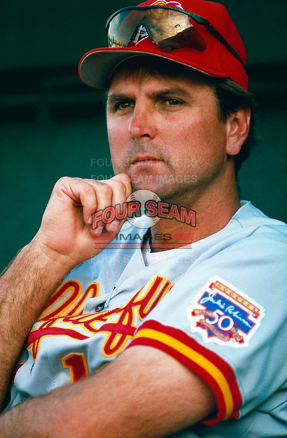 Albuquerque Dukes Manager Glenn Hoffman during a game at Cashman Field in Las Vegas, Nevada during the 1997 season.(Larry Goren/Four Seam Images)