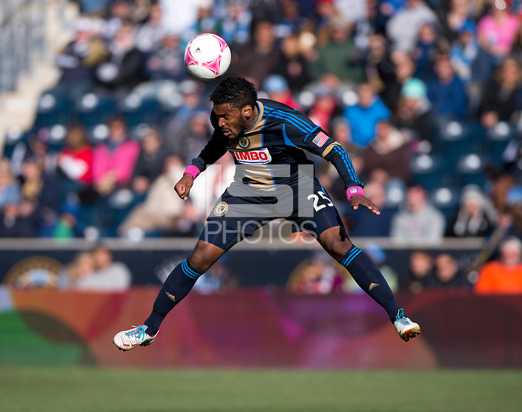 Sheanon Williams (25) of the Philadelphia Union goes up for a header  during a Major League Soccer game at PPL Park in Chester, PA. Sporting Kansas City defeated the Philadelphia Union, 2-1.