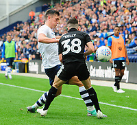 Reading's Liam Kelly is tackled by Preston North End's Josh Earl<br /> <br /> Photographer Chris Vaughan/CameraSport<br /> <br /> The EFL Sky Bet Championship - Preston North End v Reading - Saturday 15th September 2018 - Deepdale - Preston<br /> <br /> World Copyright &copy; 2018 CameraSport. All rights reserved. 43 Linden Ave. Countesthorpe. Leicester. England. LE8 5PG - Tel: +44 (0) 116 277 4147 - admin@camerasport.com - www.camerasport.com