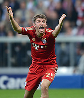 FUSSBALL  CHAMPIONS LEAGUE  HALBFINALE  HINSPIEL  2012/2013      FC Bayern Muenchen - FC Barcelona      23.04.2013 Thomas Mueller (FC Bayern Muenchen) emotional