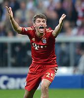 FUSSBALL  CHAMPIONS LEAGUE  HALBFINALE  HINSPIEL  2012/2013      FC Bayern Muenchen - FC Barcelona      23.04.2013 Thomas Mueller (FC Bayern Muenchen) emotional