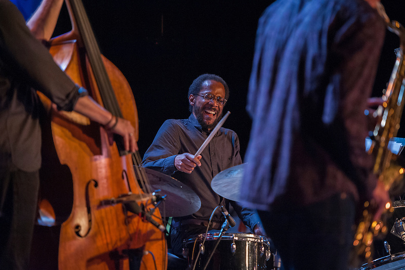 Brian Blade plays drums with saxophonist Joshua Redman, right, and bassist Scott Colley in Dizzy's Den at the Monterey Jazz Festival on Sept. 16, 2016.