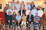 FAREWELL: Brian Carmody (seated 3rd from left) with his wife Mary, who retired from the Water Department of Tralee Town Council, at a farewell party in Stokers Lodge on Friday evening. Front row from left: Flor OMahony, Stephen OMahony, Brian and Mary Carmody, Jim Finucane and Jim Walsh. Middle row from left: Gordon Rogers, Tommy Nolan, Jackie Duggan, Colin Rogers, Tim Moran and Gavin Lacey. Back row from left: Bill Boome, Joseph Duggan, James Daly, Brendan OSullivan, Stephen OCallaghan, Michael Buckley and Christy OSullivan..