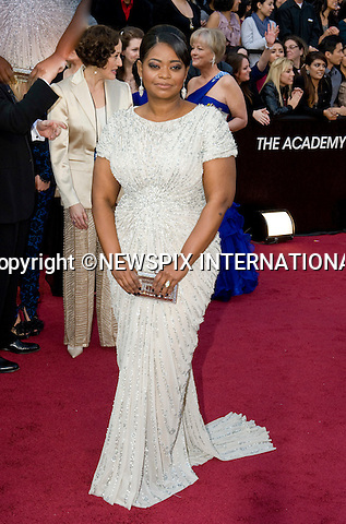 """OSCARS 2012 - OCTAVIA SPENCER.84th Academy Awards arrivals, Kodak Theatre, Hollywood, Los Angeles_26/02/2012.Mandatory Photo Credit: ©Dias/Newspix International..**ALL FEES PAYABLE TO: """"NEWSPIX INTERNATIONAL""""**..PHOTO CREDIT MANDATORY!!: NEWSPIX INTERNATIONAL(Failure to credit will incur a surcharge of 100% of reproduction fees)..IMMEDIATE CONFIRMATION OF USAGE REQUIRED:.Newspix International, 31 Chinnery Hill, Bishop's Stortford, ENGLAND CM23 3PS.Tel:+441279 324672  ; Fax: +441279656877.Mobile:  0777568 1153.e-mail: info@newspixinternational.co.uk"""