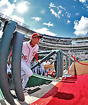 12 April 2012: Washington Nationals pitcher Tyler Clippard is introduced on Opening Day prior to facing the Cincinnati Reds at Nationals Park in Washington, DC. The Nationals defeated the Reds 3-2 in 10 innings to take the first game of their 4-game series. Mandatory Credit: Ed Wolfstein Photo