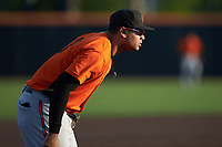 Frederick Keys third baseman Jomar Reyes (13) on defense against the Buies Creek Astros at Jim Perry Stadium on April 28, 2018 in Buies Creek, North Carolina. The Astros defeated the Keys 9-4.  (Brian Westerholt/Four Seam Images)