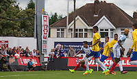 Dominic Calvert-Lewin (Everton) of England scores his goal to make it 1.2 during the International match between England U20 and Brazil U20 at the Aggborough Stadium, Kidderminster, England on 4 September 2016. Photo by Andy Rowland / PRiME Media Images.