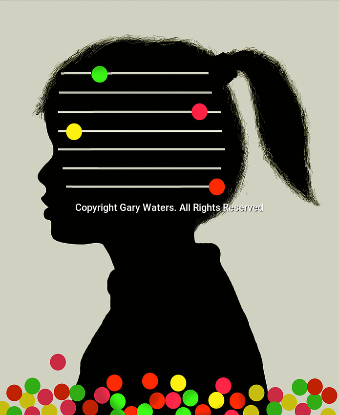 Young girl with abacus with missing beads inside of head