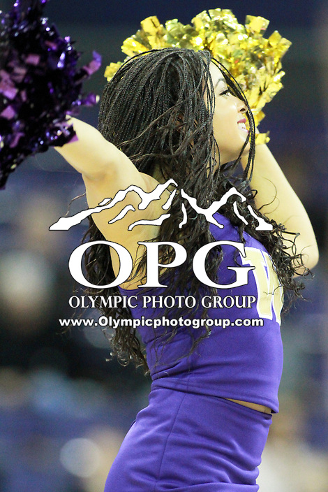 SEATTLE, WA - DECEMBER 17:  Washington cheerleader Shelby Bailey entertained fans during a timeout in the game against Loyola Marymount.  Washington won 75-63 over Loyola Marymount at Alaska Airlines Arena in Seattle, WA.