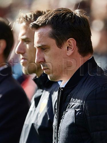 01.17.2016. Mestalla Stadium, Valencia, Spain. La Liga, Valencia versus Rayo. Gary Neville (R) and Phill Neville look on prior to the game