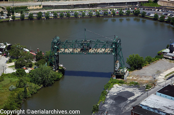 aerial view above draw bridge Cuyahoga river Cleveland Ohio