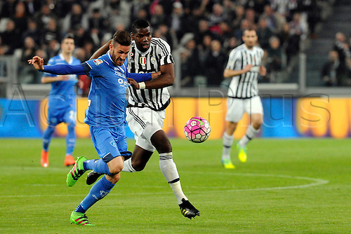 02.04.2016. Juventus Stadium, Turin, Italy. Serie A Football. Juventus versus Empoli. Paul Pogba  and Luca Bittante fight for the ball